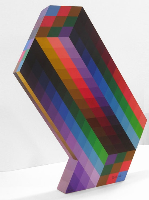 Victor Vasarely - Torony, acrylic wood sculpture