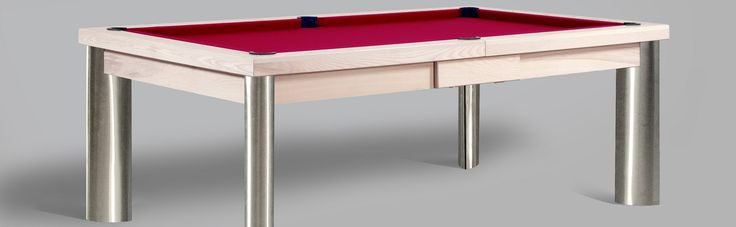 Modern Pool Table, shown as a 7' American Pool Table built in Ash, colour 8 with a Red Cloth