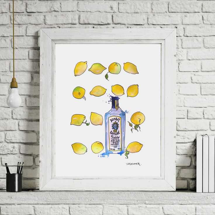 ***Original*** Contemporary Painting Bombay Sapphire Gin&Tonic Lemon Scadni A4 in Art, Artists (Self-Representing), Paintings | eBay