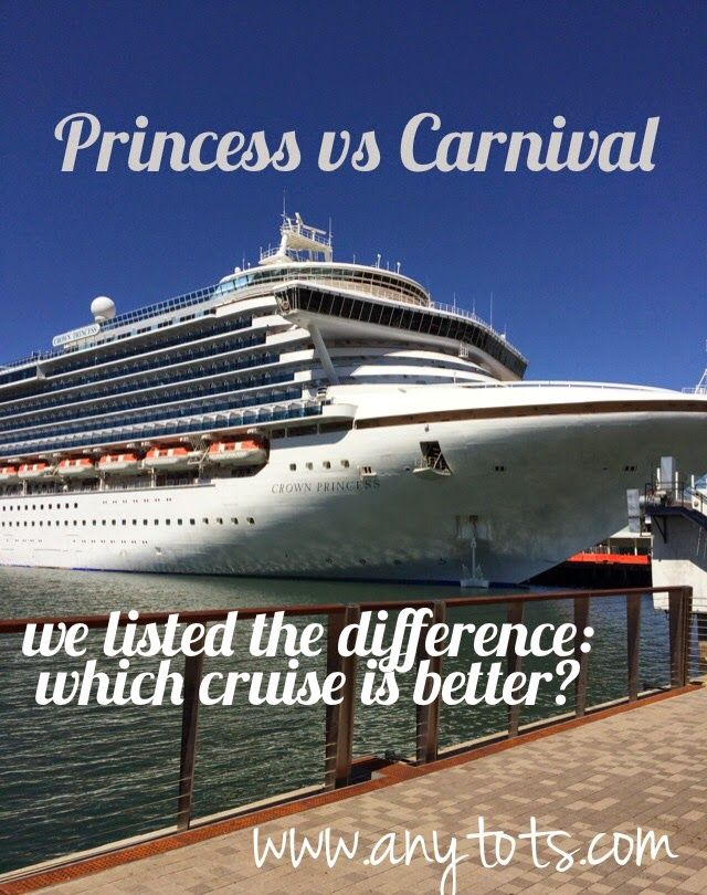 Princess Cruises VS Carnival: Read about their differences before booking your next trip. www.anytots.com for a detailed comparison on food, service, crowd, etc. Cruise Tips by www.anytots.com