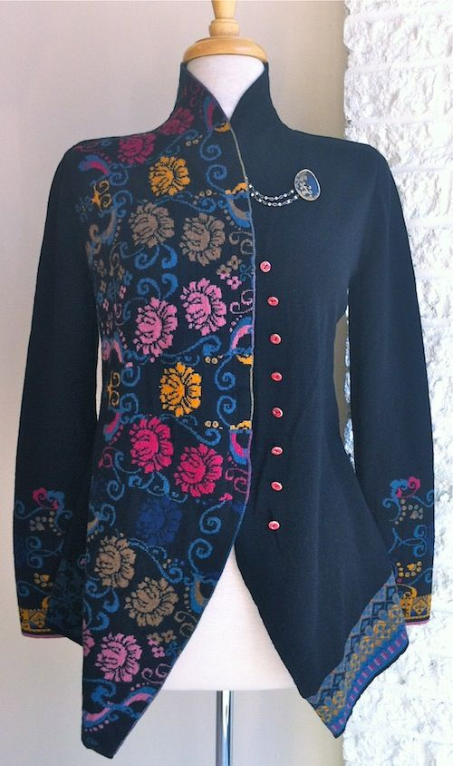 Ivko cardigan black assymmetrical with floral motif