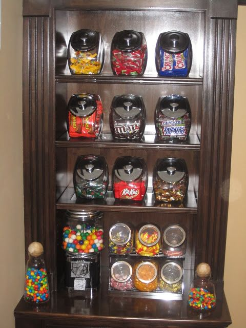 Candy Bar ~ Glass Jars from The Container Store/Canister Set from Amen Wardy, Aspen/Carafes from Malibu Colony Company/Gumball Machine from Gumballs.com