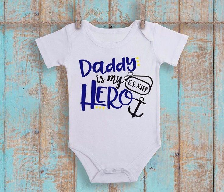 Daddy Is My Hero US Navy Baby Boy Girl Bodysuit Toddler Shirt Veteran Day Anchor #Handmade #EverydayHoliday