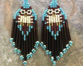 Native American Style Beaded Owl Earrings