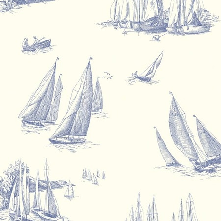 I pinned this Sailboat Toile Wallpaper in White and Blue from the Seaside Chic Wallpaper event at Joss and Main!