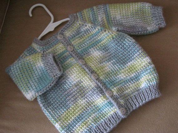 Boy Baby Sweater - Crochet  Grey Green Turqoise Yellow.  0-6 Months in Tunisian Crochet - Handmade
