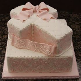 .: Damask Cross Baptism Cake