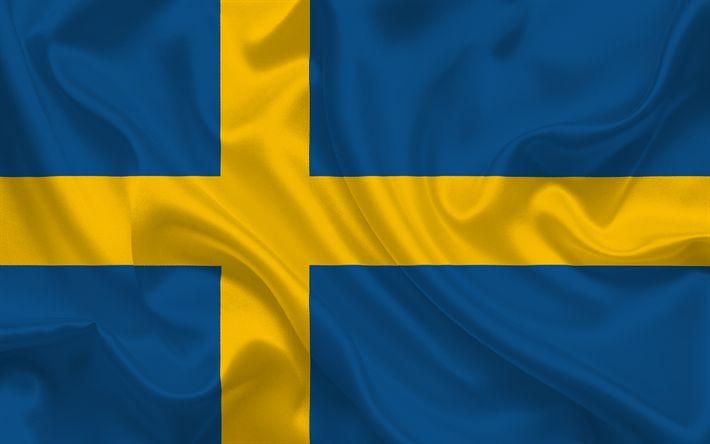 Herunterladen hintergrundbild schwedische flagge, schweden, europa, flagge von schweden