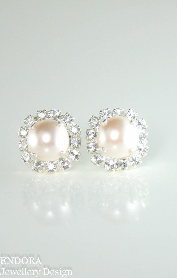 Creamrose Pearl Earrings Stud Halo Swarovski Yes I Have A