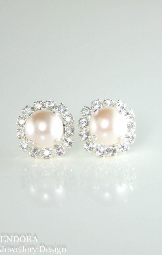 Creamrose pearl earrings | pearl earrings | Pearl wedding jewelry | creamrose pearl jewelry | www.endorajewellery.etsy.com