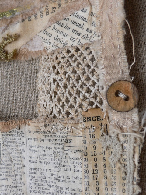 paper & fabric collage love from gentlework