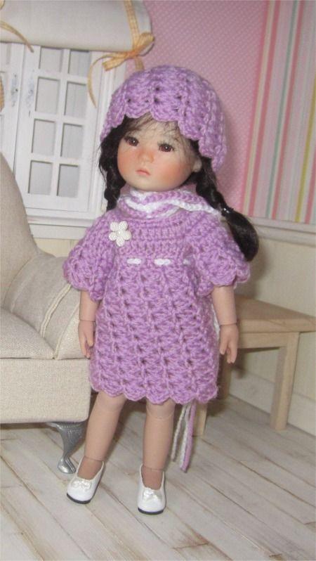 """113- FICHE PATRON CROCHET Ensemble """"Mila"""" pour poupée Ten Ping ou Heartstring Doll : Jeux, jouets par atelier-crochet"""