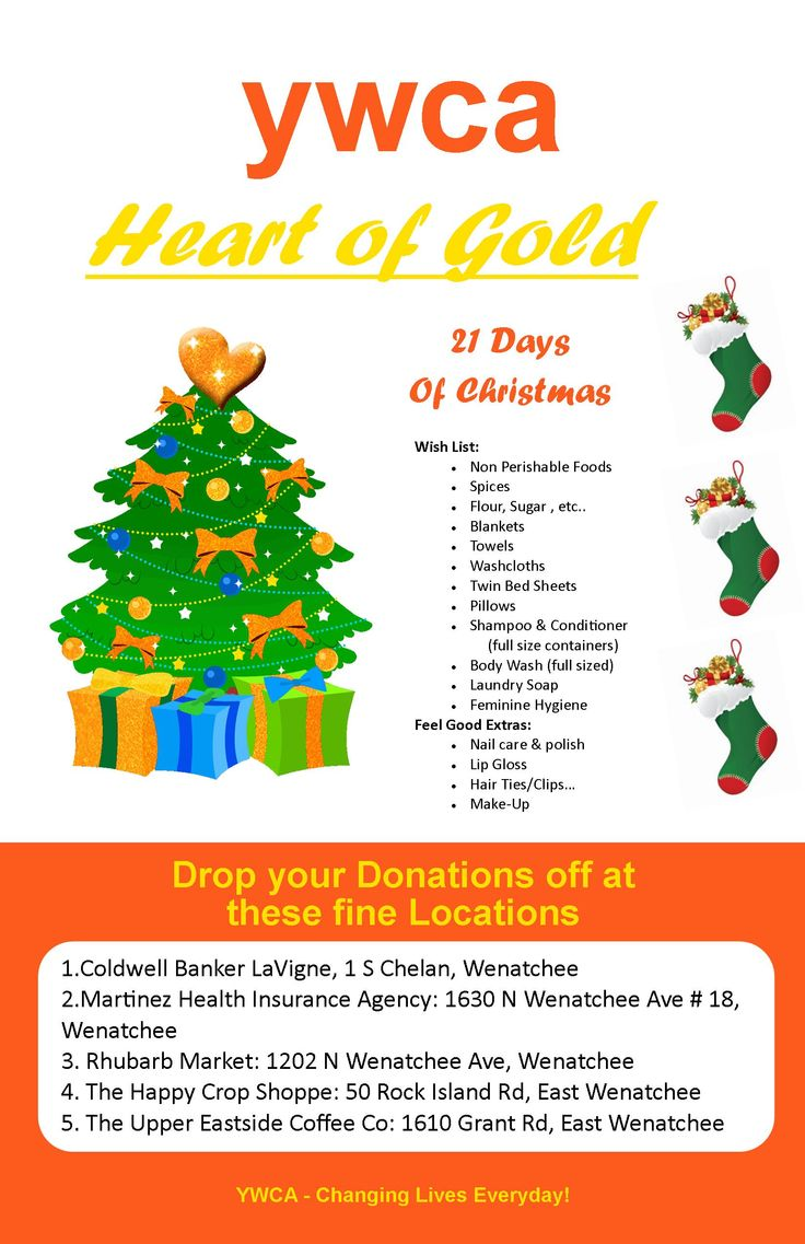 If enough small businesses got together then we can make miricles happen. This is going on in Dec 2014 to help out the Wenatchee Valley YWCA and increase their support with the struggling families in the Wenatchee Valley. Yes, we have a drop off at my office at 1630 N Wenatchee  Ave #18, Wenatchee