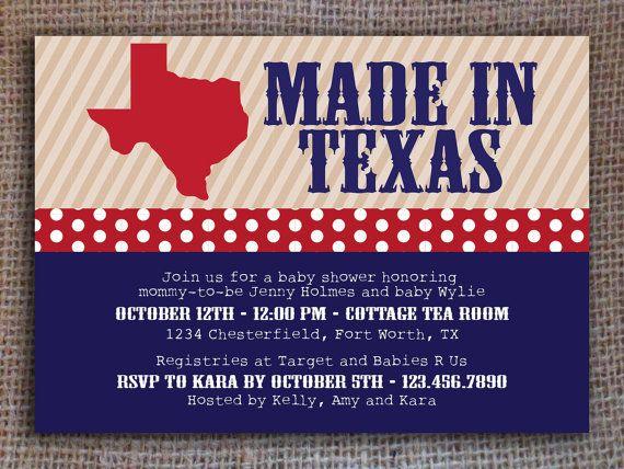 kitsyco.com - Made in Texas Baby Shower Invitation - Digital File