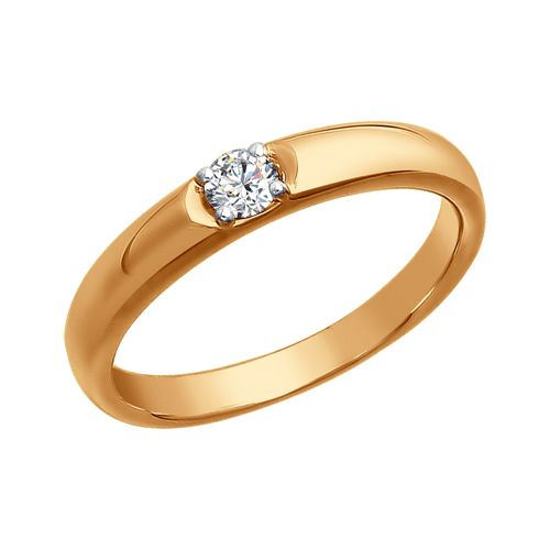 Обручальное кольцо из золота с бриллиантом 1010284