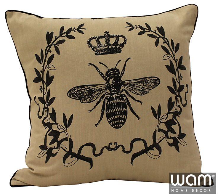 Royal Bee Cushion - French inspired classic printed cushion. http://wamhomedecor.com.au/index.php/printed-cushions-45x45cm.html
