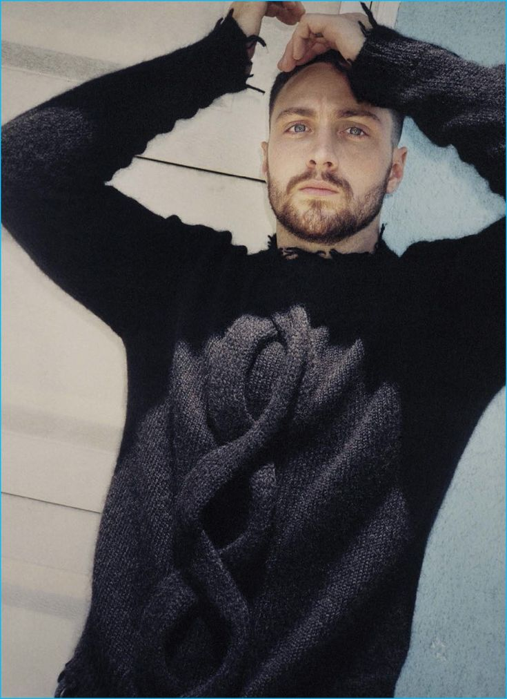 Aaron Taylor-Johnson rocks a deconstructed cable knit sweater from Etro.