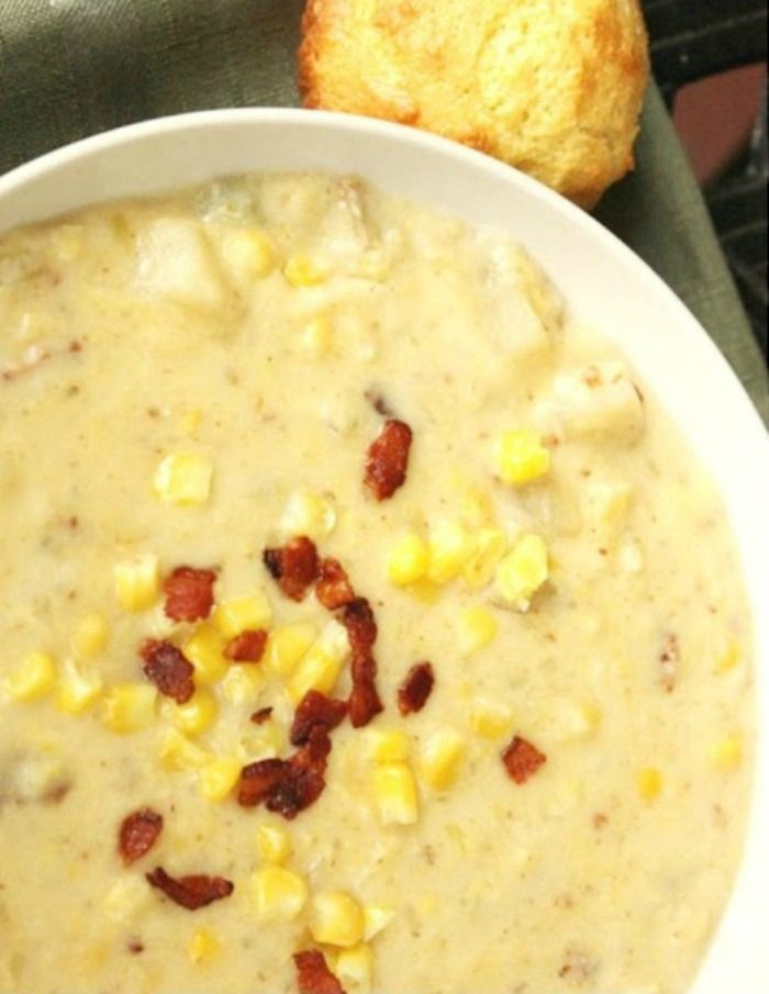 "Slow Cooker Corn & Potato Chowder-  8oz bacon, cook & crumble; 2.5lb (5 med) Russets, NOT peeled, dice 1/4"" cubes; 8c (2lb) kernel corn; 1lg onion, fine chop; 1c chopped celery; 6 clv garlic, crushed; 1/2t seasoned salt; 4c chicken stock; 2c half & half or heavy cream; S&P - cook all but cream, low 10° OR high 6°. Puree half the soup. Add cream & continue cooking, uncovered, 15 min to heat through. Salt & pepper to taste."