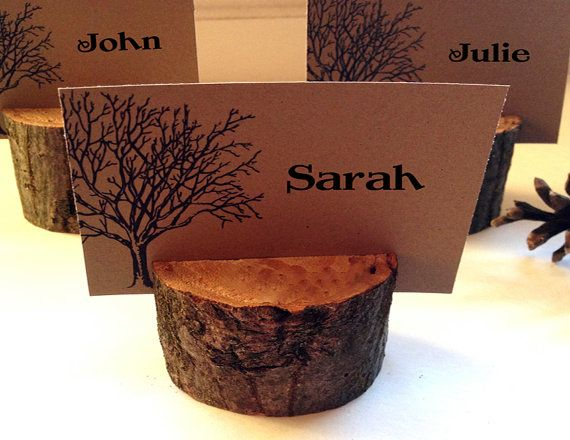 10 Rustic wood escort/place card holder - great for woodland and rustic themed weddings and parties