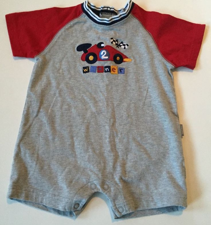 Carters Shorts Outfit 9 Months One Piece Red Gray Race Car Short Sleeve Cotton | eBay