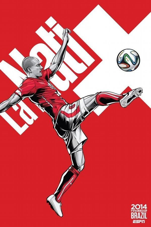 Switzerland national football team poster by brazilian designer Cristiano Siqueira. FIFA World Cup 2014 Brazil.
