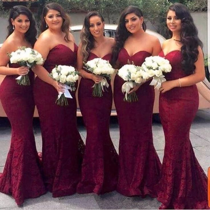 Burgundy Sweetheart Full Lace Bridesmaid Dresses Zipper Back Long Maid of Honor Gowns Mermaid Prom Evening Gowns Wedding Guest Dresses_conew1