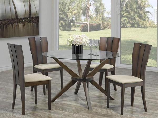 Tina Round Glass Dinette Table Set  #www.craftmansfurniture.ca #furniture #furnituredesign #interiordesign #interiors #furnishing #couches #sofas #bedroomset #diningtable #rugs #coffeetables #canvas #endtables #accessories #accentchairs #canadianmade #solidwood #barstools #mirrors #heartlandtowncentre #handmade #mississauga #contemporaryart #bedroomdecor #homedecor #modernfurniture