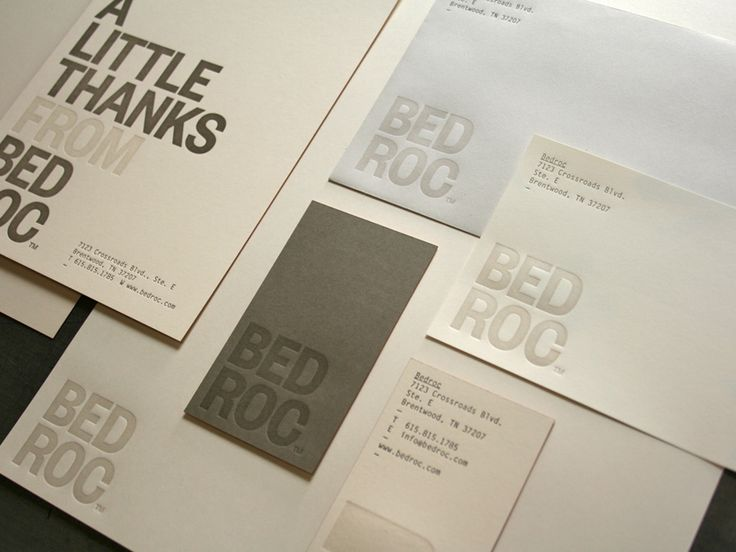Bedroc Identity Sstem designed by Perky Bros., printed on Classic Crest, Recycled 100 Natural 160C, Recyled Natural White 80T and Antique Gray 24W -printed 2 color.