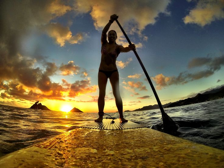 Photo of the Day! Sunrise paddling in Hawaii. Photo by Pua Jumawid. #GoPro #sunrise #SUP