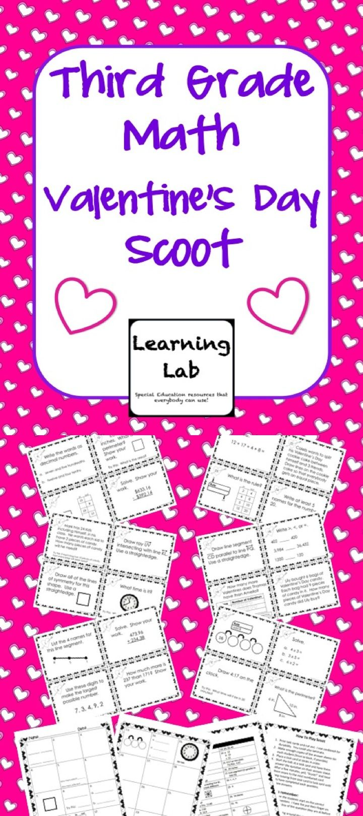 This Valentine's Day themed math scoot game reviews third grade skills from up until this point of the school year using the Everyday Mathematics program.