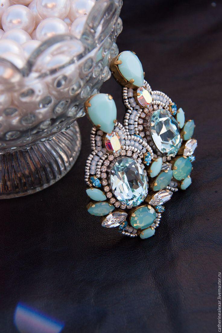 """Beaded earrings with crystals / Купить Серьги с кристаллами Swarovski """"Венеция"""" - подарок девушке, подарок на 8 марта"""