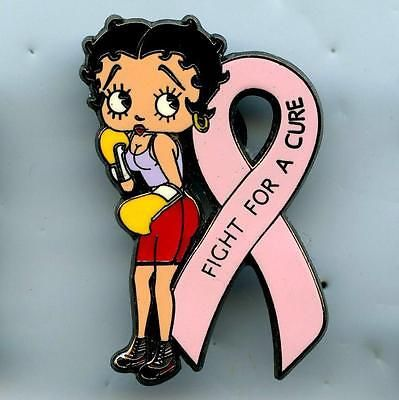 Betty Boop Pin Pink Ribbon Pin Breast Cancer Support Boxing Fight ...