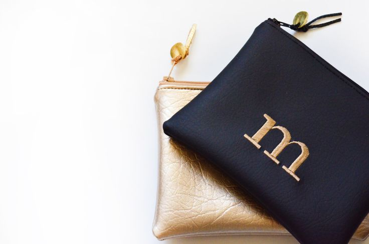 Personalized Gift for Her Monogram Clutch Bridesmaid Gift Set Purse Custom Zipper Pouch Metallic Initial Wedding Faux Leather Gift Cosmetic by loliscreations on Etsy https://www.etsy.com/listing/255079268/personalized-gift-for-her-monogram