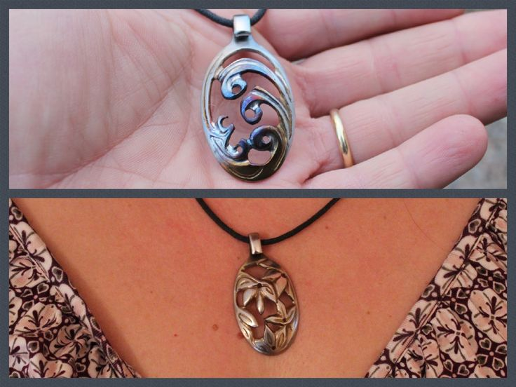 DIY pendant. Carving Necklace from teaspoon with Dremel rotary tool