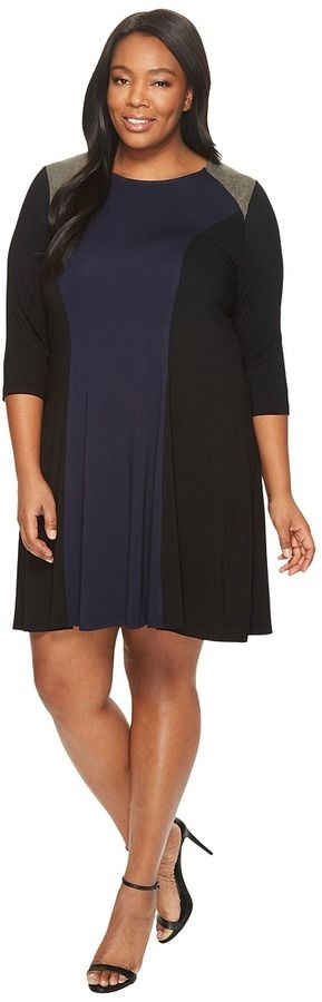 Karen Kane Plus - Plus Size Faux Suede Yoke Color Block Dress Women's Dress