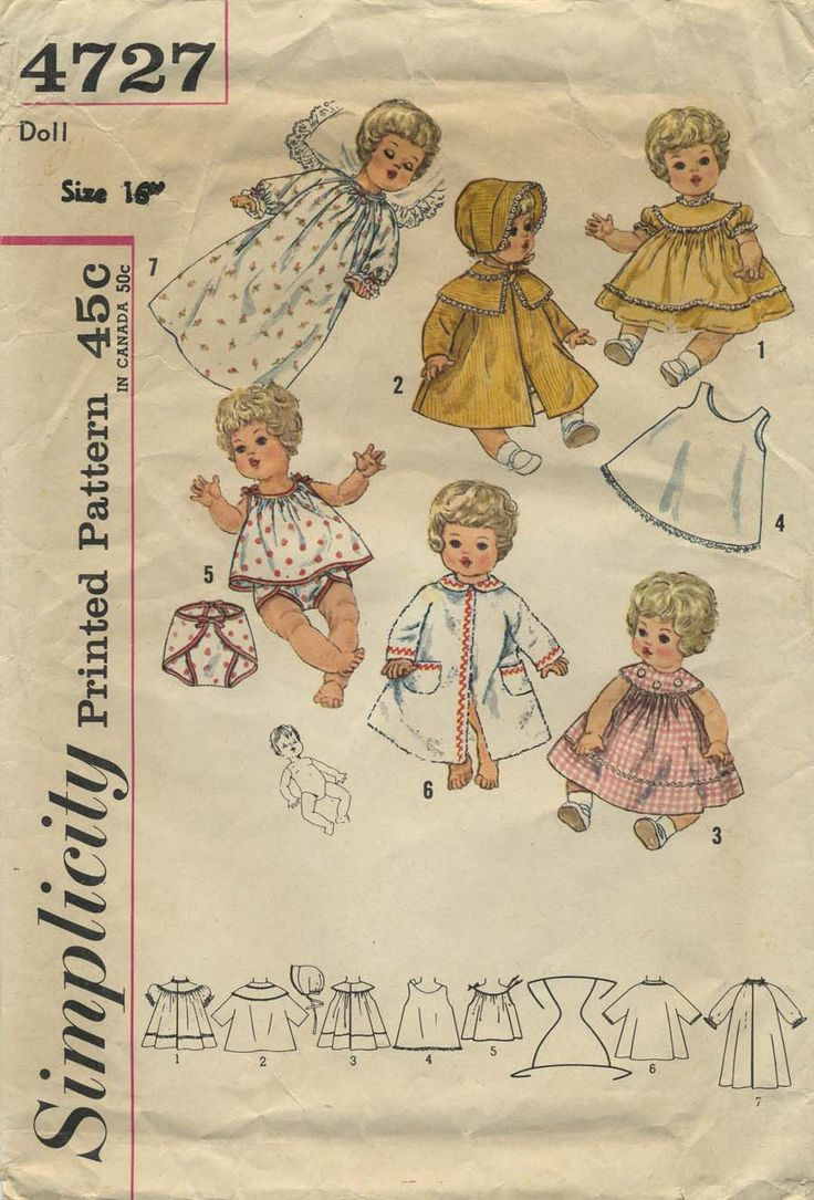 Vintage Doll Clothes Sewing Pattern | Wardrobe Suitable for Betsy Wetsy, Carrie Cries, Sweetie Pie and Tiny Tears | Simplicity 4727 | Year 196? | Size 16""