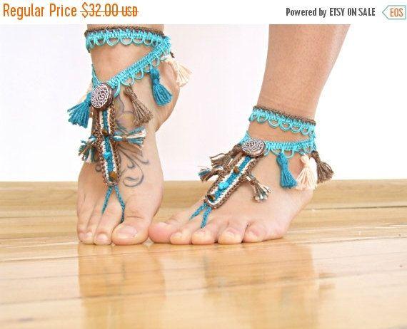 Borla tribales de VENTA 15% OFF con cuentas sandalias pies DESCALZOS, pies descalza sandalia, baile de vientre calzado, joyería de playa fiesta Boho, tangas de pie, bott