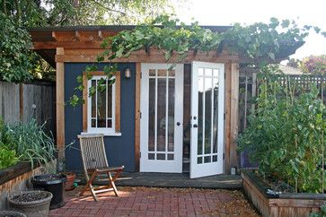 Banyon Tree Design Portfolio, traditional,  garage and shed, seattle, Banyon Tree Design Studio, Out door office, tuck your space in a garden.