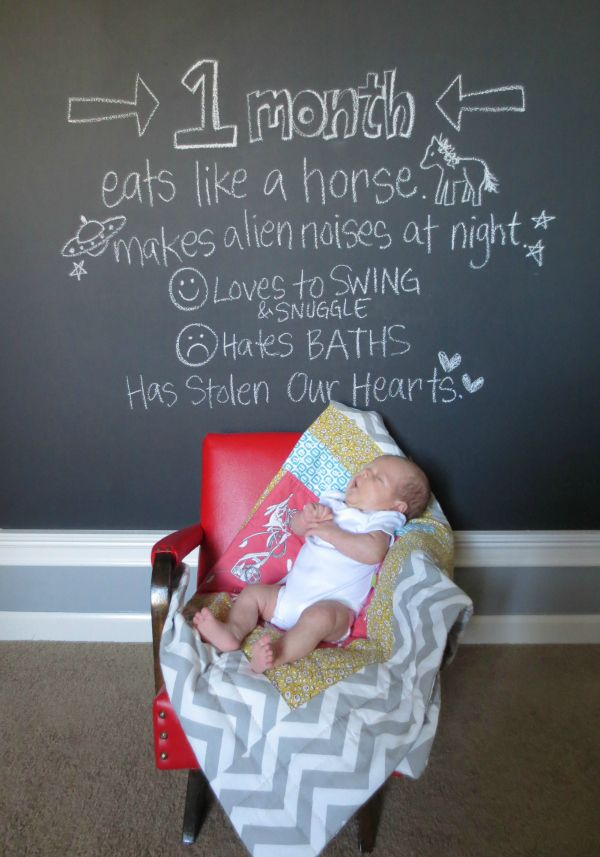 What a great idea for a baby photo! I could see doing this with kids as they grow, too.