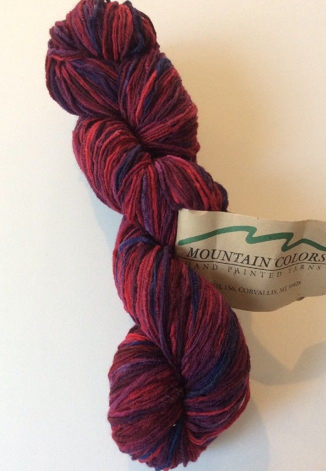 Merino Ribbon Yarn Mountain Colors Flathead Cherry Hand Dyed Red Purple Pink #MountainColors #HandDyed
