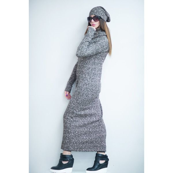 Knitted Brown Dress, Knit Dress with Hat, Brown Knitted Long Dress,... ($83) ❤ liked on Polyvore featuring dresses, knit dress, turtle neck long dress, turtleneck dress, brown dress and long-sleeve turtleneck dresses