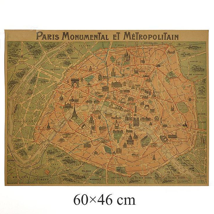 Retro Vintage Paris City Maps | The French Shoppe