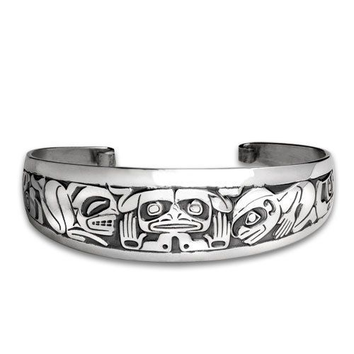 Sterling Silver Emerging Mankind Large Northwest Coast Native American Bracelet. Made in USA. Metal Arts Group. $354.00
