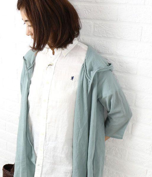 Gymphlex(ジムフレックス) リネンクロス  半袖 ボタンダウン  チュニックシャツ・J-0998KLS-BB  #Gymphlex