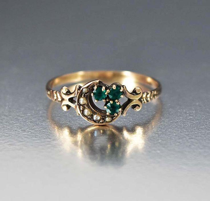 Victorian Crescent Moon Antique Emerald Ring