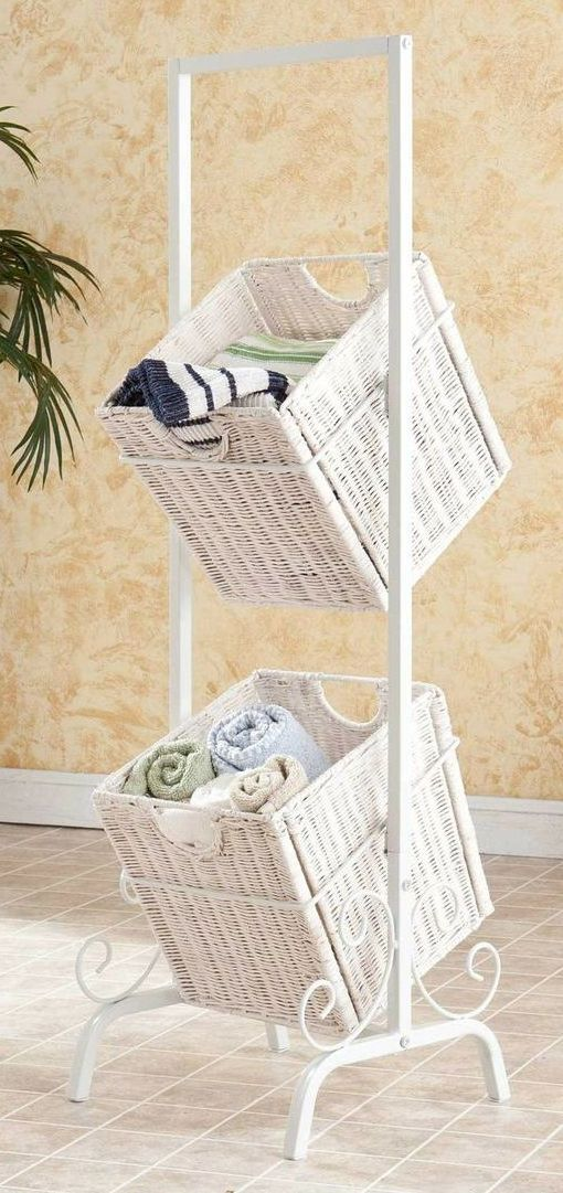White 2 tiered storage baskets // great for the bedroom or bathroom…