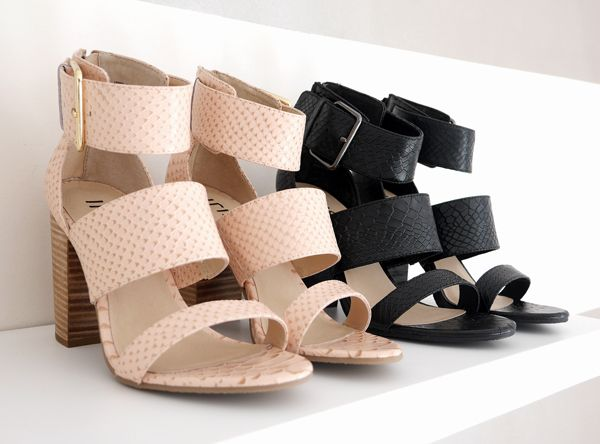 Tibby sandals - snake print, block heel