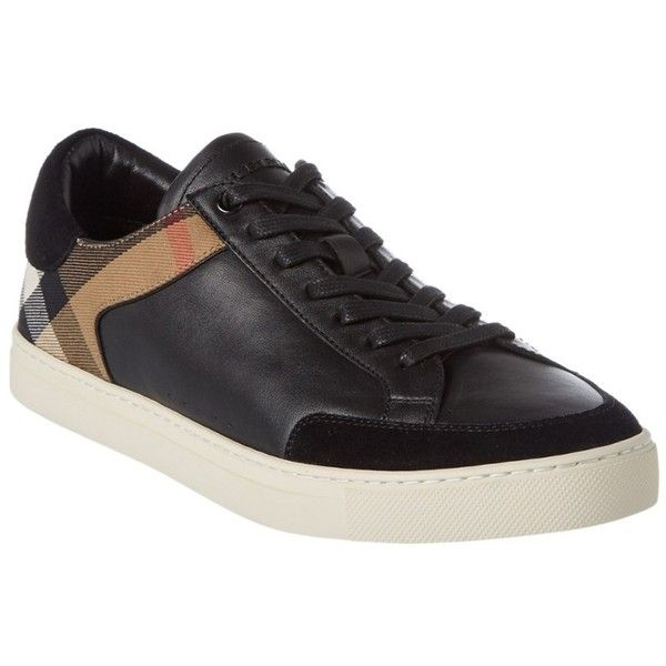 Burberry Burberry Rettford Leather & House Check Trainer ($340) ❤ liked on Polyvore featuring men's fashion, men's shoes, men's sneakers, black, shoes, mens leather lace up shoes, mens black leather shoes, burberry mens shoes, mens leather shoes and burberry mens sneakers