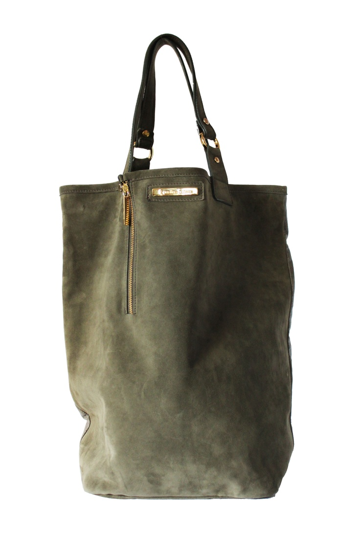 Olive green suede tote By Paulina Botero