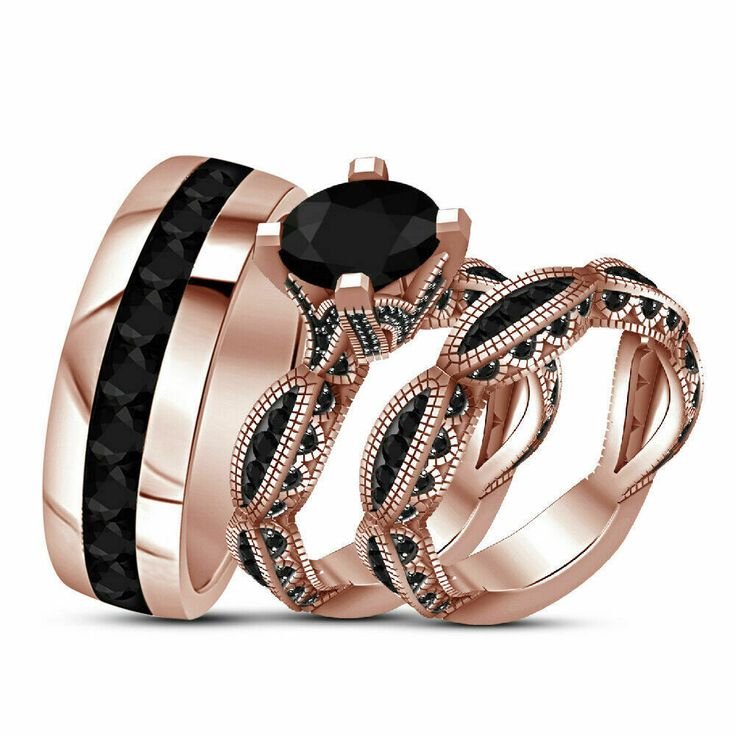 14k rose gold over black diamond his hers engagement